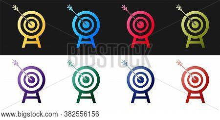 Set Target With Arrow Icon Isolated On Black And White Background. Dart Board Sign. Archery Board Ic