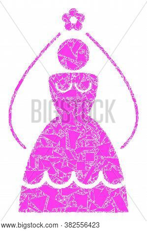 Spall Mosaic Bride Icon. Bride Mosaic Icon Of Spall Items Which Have Randomized Sizes, And Positions