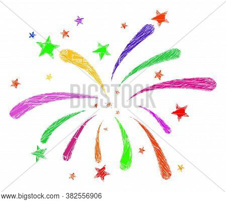 Shatter Mosaic Fireworks Icon. Fireworks Mosaic Icon Of Shatter Items Which Have Randomized Sizes, A