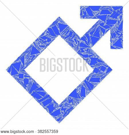 Debris Mosaic Male Symbol Icon. Male Symbol Mosaic Icon Of Debris Items Which Have Variable Sizes, A