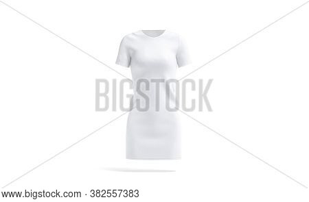 Blank White Cloth Dress Mockup, Front View, 3d Rendering. Empty Woman Cotton Midi Gown Or Long T-shi