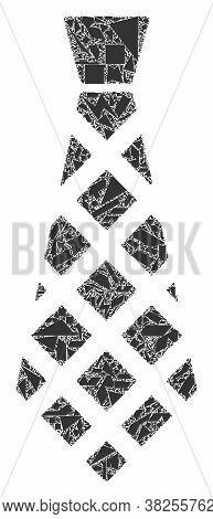 Debris Mosaic Checkered Tie Icon. Checkered Tie Mosaic Icon Of Debris Elements Which Have Randomized