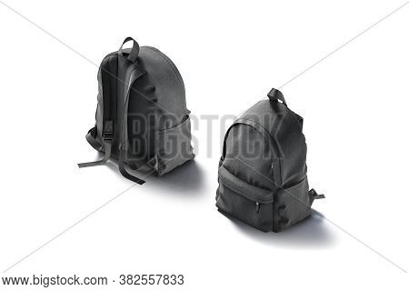 Blank Black Backpack With Zipper And Strap Mockup, Front Back, 3d Rendering. Empty Fabric Rucksack F