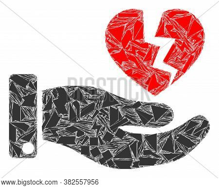 Spall Mosaic Hand Offer Broken Heart Icon. Hand Offer Broken Heart Mosaic Icon Of Spall Items Which
