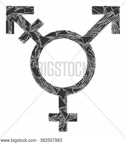 Shards Mosaic Three Gender Symbol Icon. Three Gender Symbol Mosaic Icon Of Shards Elements Which Hav