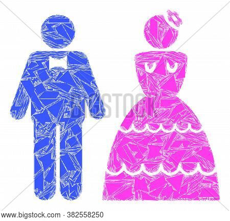 Debris Mosaic Wedding Pair Icon. Wedding Pair Collage Icon Of Debris Elements Which Have Randomized