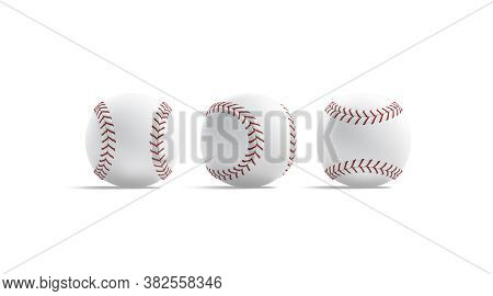 Blank White Baseball Ball With Red Seam Mockup, Front Side, 3d Rendering. Empty Leather Fastball Wit