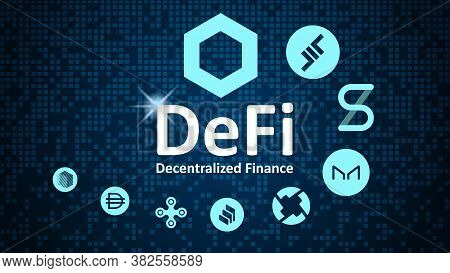 Defi - Decentralized Finance And Altcoins In Spiral. Logos Of The Main Coins Of The Defi Sector On A