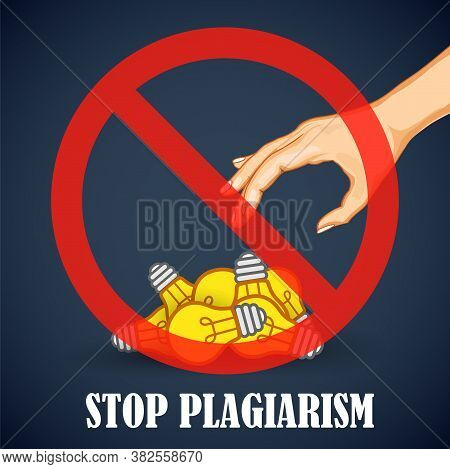 Illustration Of Background For Stop Plagiarism, Stealing And Copying Ideas And Thoughts From Origina