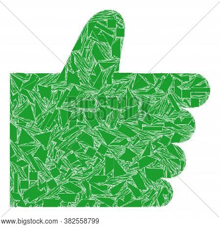 Shard Mosaic Thumb Up Icon. Thumb Up Mosaic Icon Of Shard Elements Which Have Different Sizes, And P