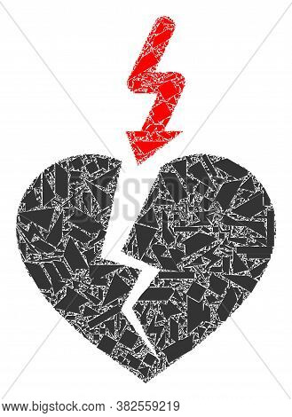 Detritus Mosaic Break Heart Icon. Break Heart Mosaic Icon Of Detritus Items Which Have Various Sizes
