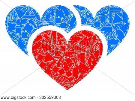Spall Mosaic Love Hearts Icon. Love Hearts Mosaic Icon Of Spall Elements Which Have Various Sizes, A
