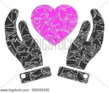 Detritus Mosaic Valentine Heart Care Hands Icon. Valentine Heart Care Hands Collage Icon Of Fragment