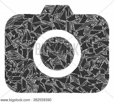 Debris Mosaic Photocamera Icon. Photocamera Mosaic Icon Of Debris Items Which Have Different Sizes,
