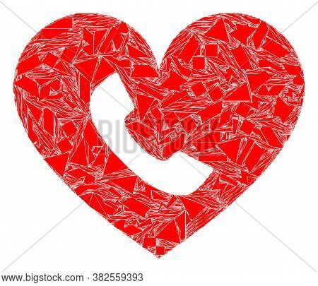 Debris Mosaic Phone Heart Icon. Phone Heart Mosaic Icon Of Detritus Items Which Have Variable Sizes,