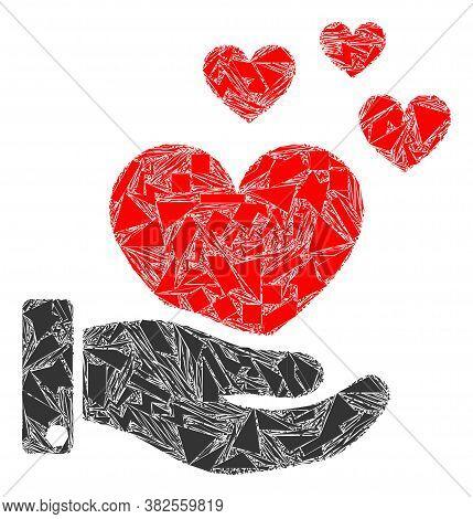 Debris Mosaic Hand Offer Love Hearts Icon. Hand Offer Love Hearts Mosaic Icon Of Debris Items Which