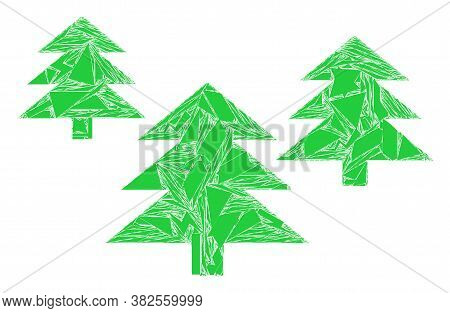 Spall Mosaic Fir Tree Forest Icon. Fir Tree Forest Collage Icon Of Shard Elements Which Have Randomi