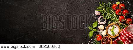 Food Cooking Background. Herbs And Vegetables At Black Slate Table. Food Ingredients Top View Long F
