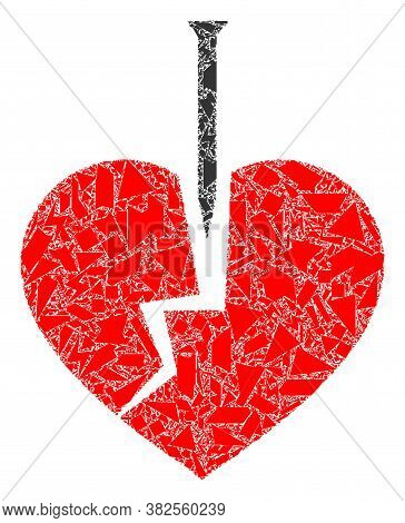 Fraction Mosaic Crack Love Heart Icon. Crack Love Heart Mosaic Icon Of Debris Elements Which Have Ra