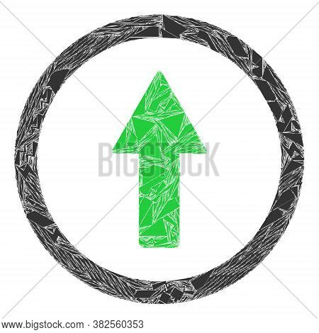 Debris Mosaic Rounded Up Arrow Icon. Rounded Up Arrow Mosaic Icon Of Debris Items Which Have Differe
