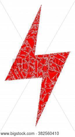Debris Mosaic Electric Hazard Icon. Electric Hazard Collage Icon Of Debris Elements Which Have Varia