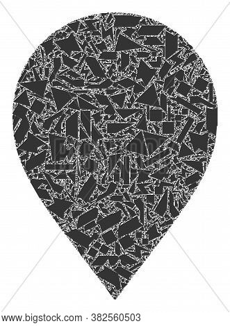 Debris Mosaic Map Marker Icon. Map Marker Mosaic Icon Of Debris Elements Which Have Various Sizes, A