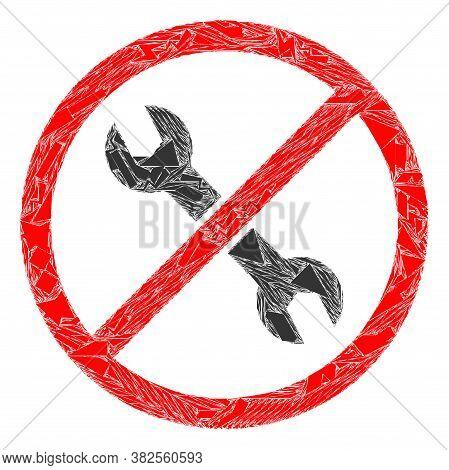 Debris Mosaic Forbidden Repair Icon. Forbidden Repair Mosaic Icon Of Debris Items Which Have Variabl