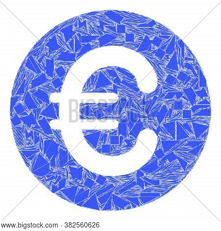 Debris Mosaic Rounded Euro Icon. Rounded Euro Mosaic Icon Of Debris Items Which Have Various Sizes,