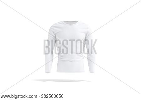 Blank White Longsleeve T-shirt Mockup, Front View, 3d Rendering. Empty Cotton Sweater Or Jersey With