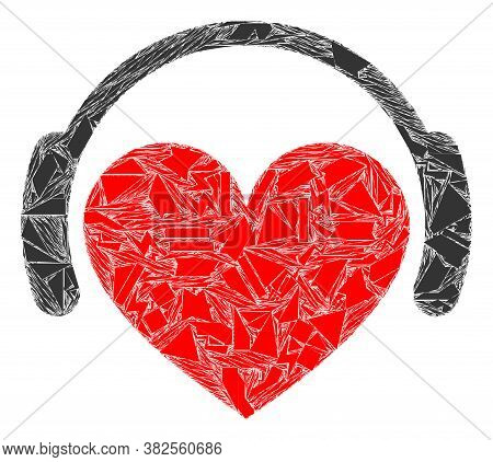 Shard Mosaic Love Heart Headphones Icon. Love Heart Headphones Mosaic Icon Of Shards Items Which Hav