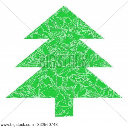 Fraction Mosaic Fir Tree Icon. Fir Tree Mosaic Icon Of Fraction Elements Which Have Variable Sizes,