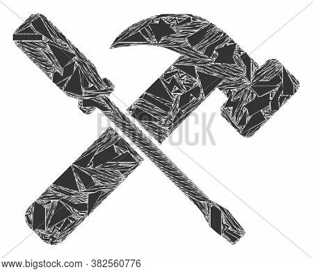 Fragment Mosaic Hammer And Screwdriver Icon. Hammer And Screwdriver Mosaic Icon Of Fragment Elements