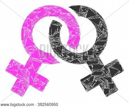 Spall Mosaic Lesbian Symbol Icon. Lesbian Symbol Collage Icon Of Spall Elements Which Have Variable