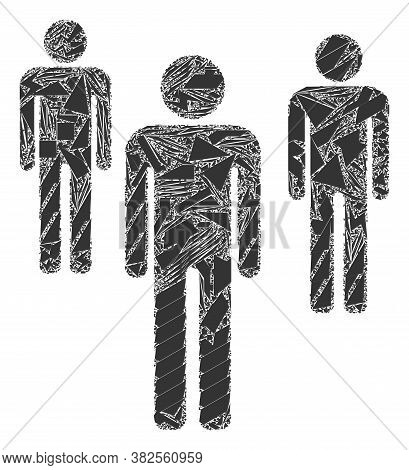 Spall Mosaic Men Figures Icon. Men Figures Mosaic Icon Of Spall Items Which Have Various Sizes, And