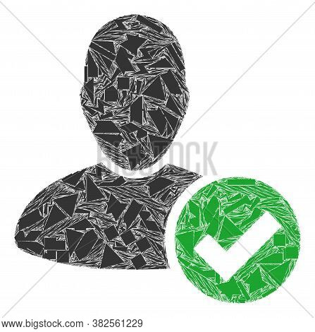 Debris Mosaic Valid User Icon. Valid User Mosaic Icon Of Debris Elements Which Have Variable Sizes,