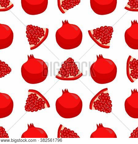 Theme Big Colored Seamless Pomegranate, Bright Berry Pattern For Seal. Berry Pattern Consisting Of B
