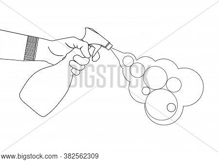 A Human Hand Sprays An Antiseptic From A Pulverizer. Antibacterial Spray In A Plastic Bottle. The Li