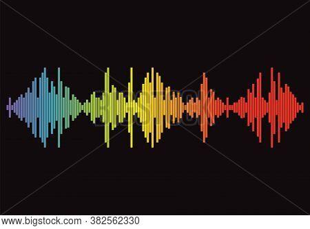 Popular Pulse Music Player On Black Background. Audio Colorful Wave Logo. Rainbow Equalizer Element.