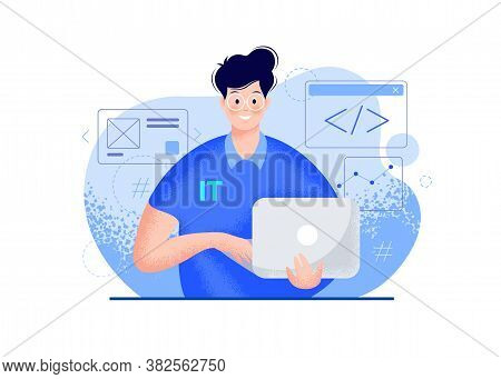 It Guy With A Laptop Vector Modern Illustration - Blue Color. Smiling Young Man Portrait In Glasses,