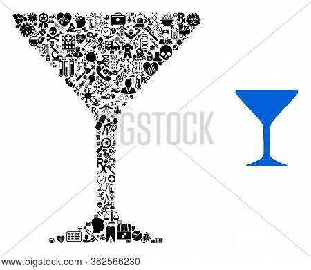 Mosaic Alcohol Glass With Medic Symbols And Basic Icon. Mosaic Vector Alcohol Glass Is Composed With
