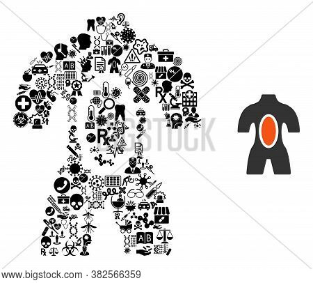 Mosaic Anatomy With Health Symbols And Basic Icon. Mosaic Vector Anatomy Is Created With Medicine Sy