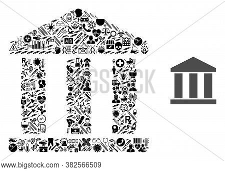 Mosaic Bank Building From Medic Items And Basic Icon. Mosaic Vector Bank Building Is Created From Me