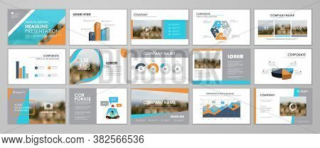 Presentation Templates Design. Vector Templates Portfolio With Blue And Orange Elements. Multipurpos