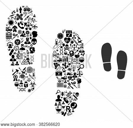 Mosaic Boot Footprints Of Health Care Items And Basic Icon. Mosaic Vector Boot Footprints Is Compose