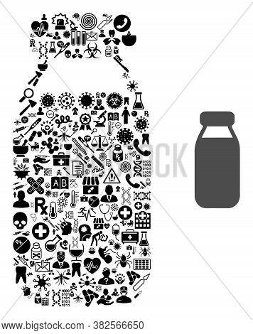 Mosaic Bottle Of Medic Icons And Basic Icon. Mosaic Vector Bottle Is Formed Of Medic Icons. Abstract