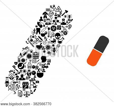 Mosaic Capsule With Health Care Items And Basic Icon. Mosaic Vector Capsule Is Composed Of Health Ca