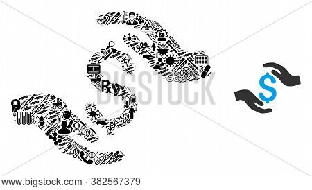Mosaic Dollar Care Hands Of Health Items And Basic Icon. Mosaic Vector Dollar Care Hands Is Formed F