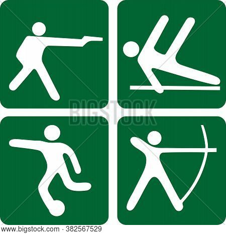 Four Icons Of Different Kinds Of Sports. Sports Illustration Of Shooting Pistol, Exercise On Uneven