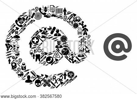 Mosaic Email Of Medicine Items And Basic Icon. Mosaic Vector Email Is Designed From Medicine Items.