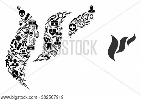Mosaic Flora Abstraction Of Healthcare Icons And Basic Icon. Mosaic Vector Flora Abstraction Is Comp